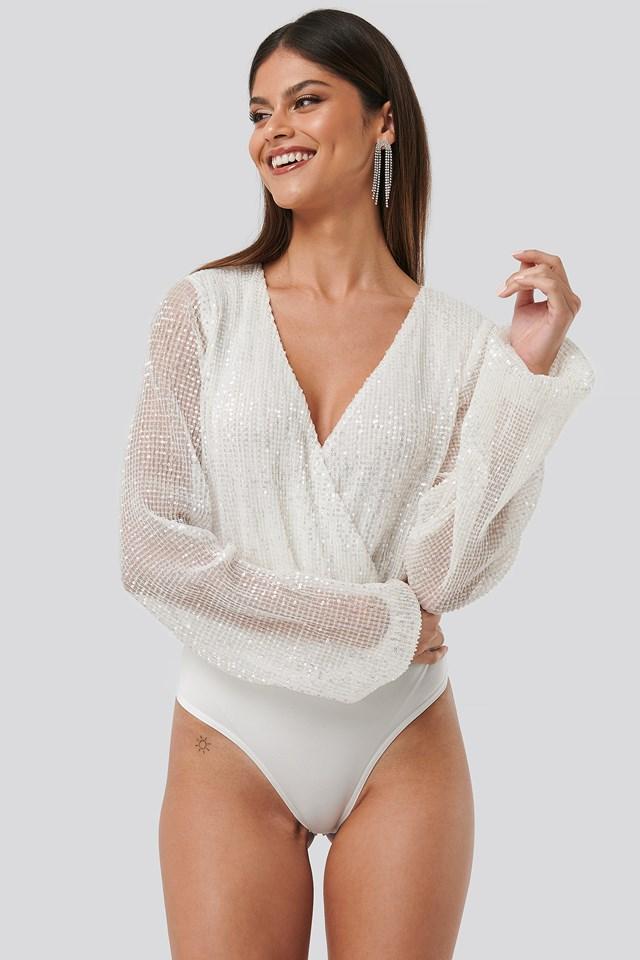 Sequin Balloon Sleeve Body White