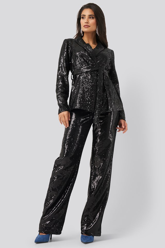 Sequin Belted Blazer Black