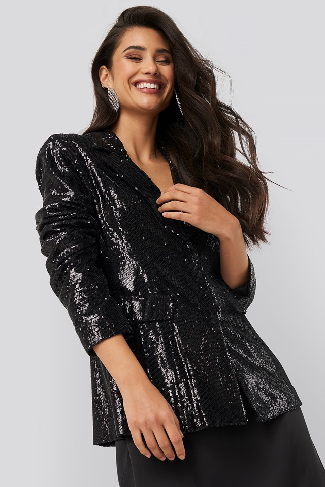 Sequin Blazer Black