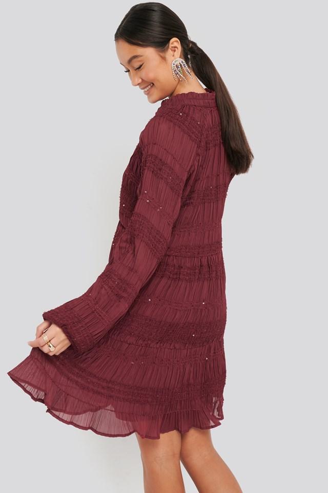 Sequin Detail Flowy Dress Dark Red