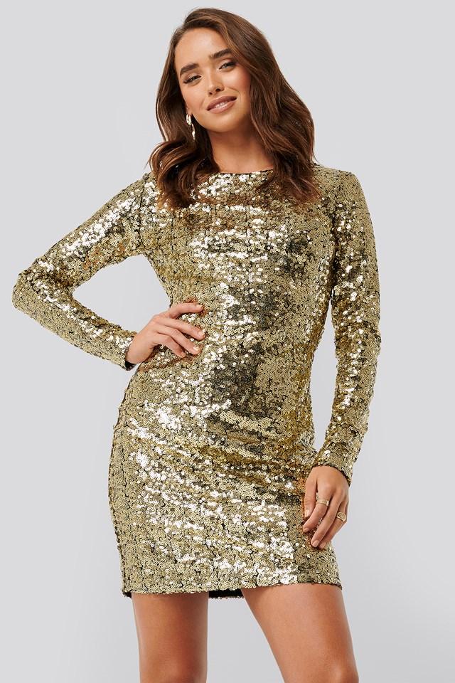 Sequin Long Sleeve Dress Gold