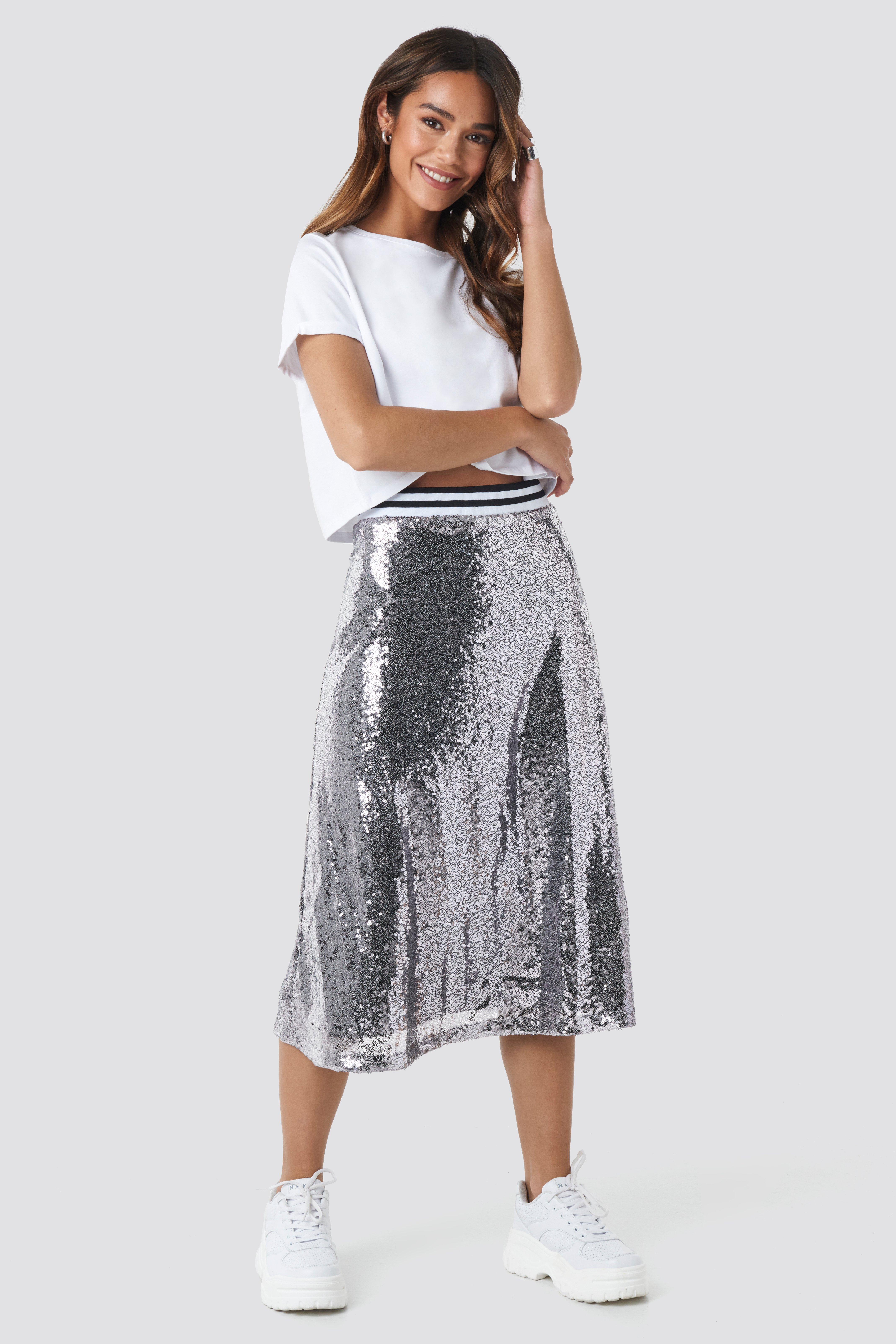 new product classic styles catch Sequin Midi Skirt Silver | na-kd.com