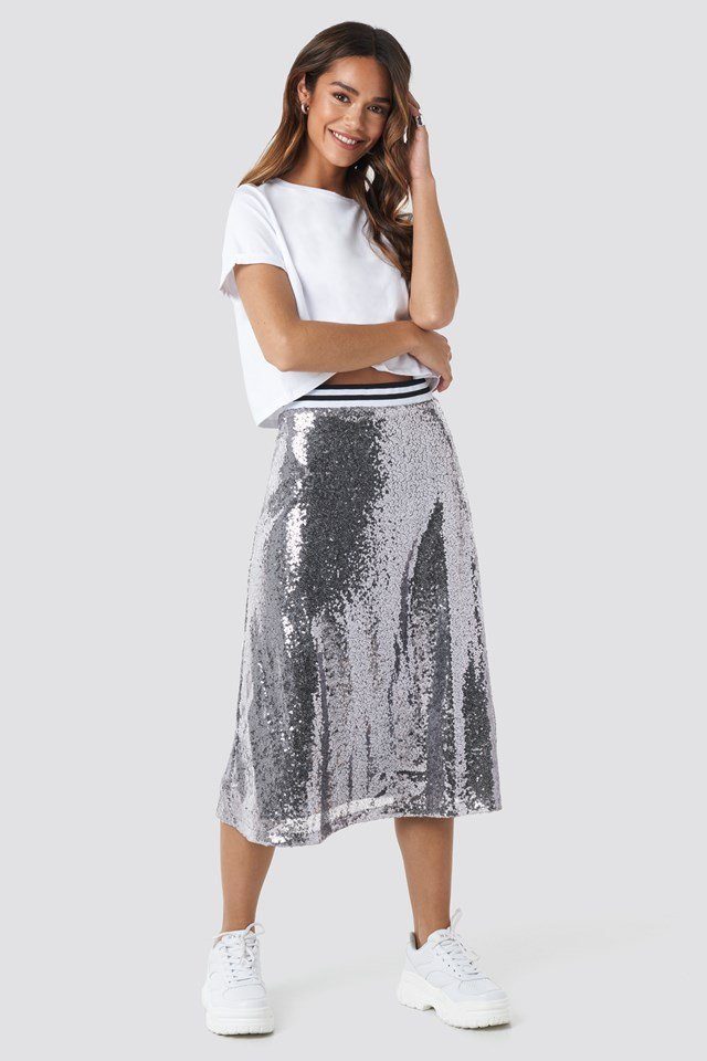 Sequin Midi Skirt Silver