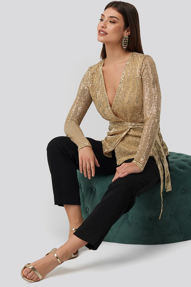 Sequin Overlap Blouse Gold