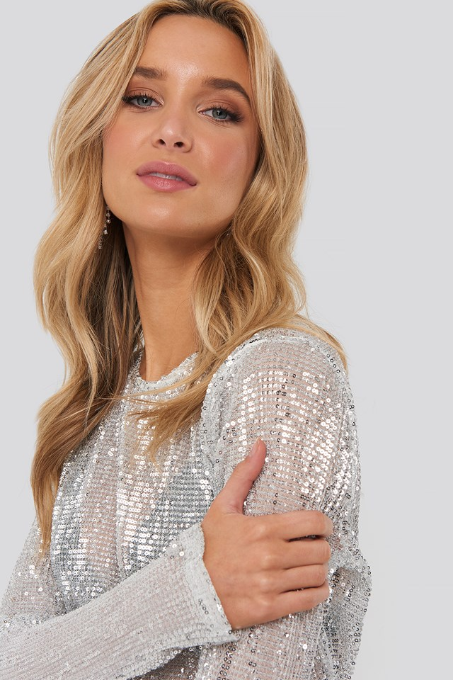 Sequin Round Neck Top Silver