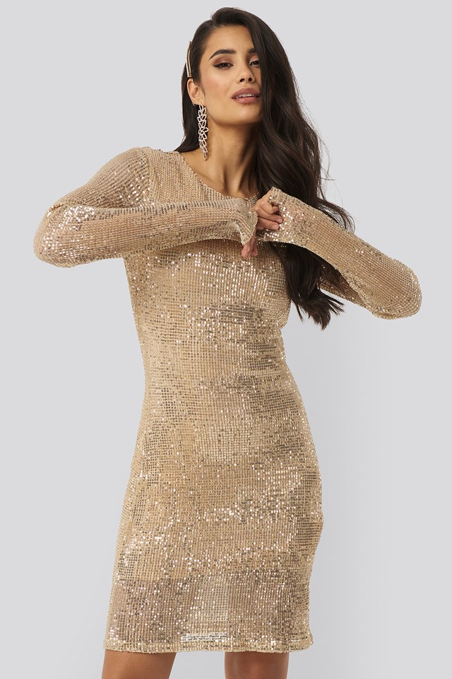 Sequin Round Neck Mini Dress Gold