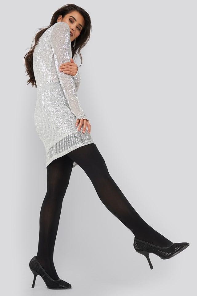 Sequin Round Neck Mini Dress Silver