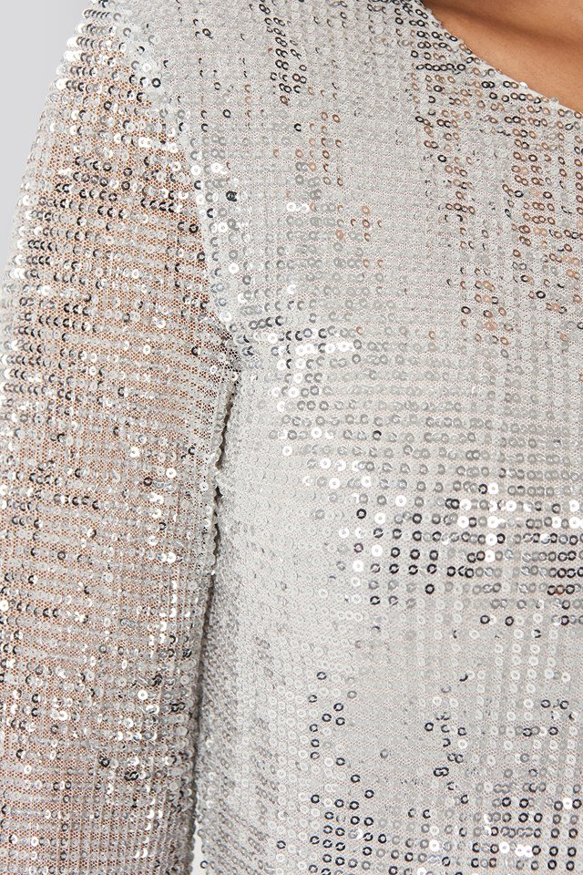 Sequin Round Neck Mini Dress Silver