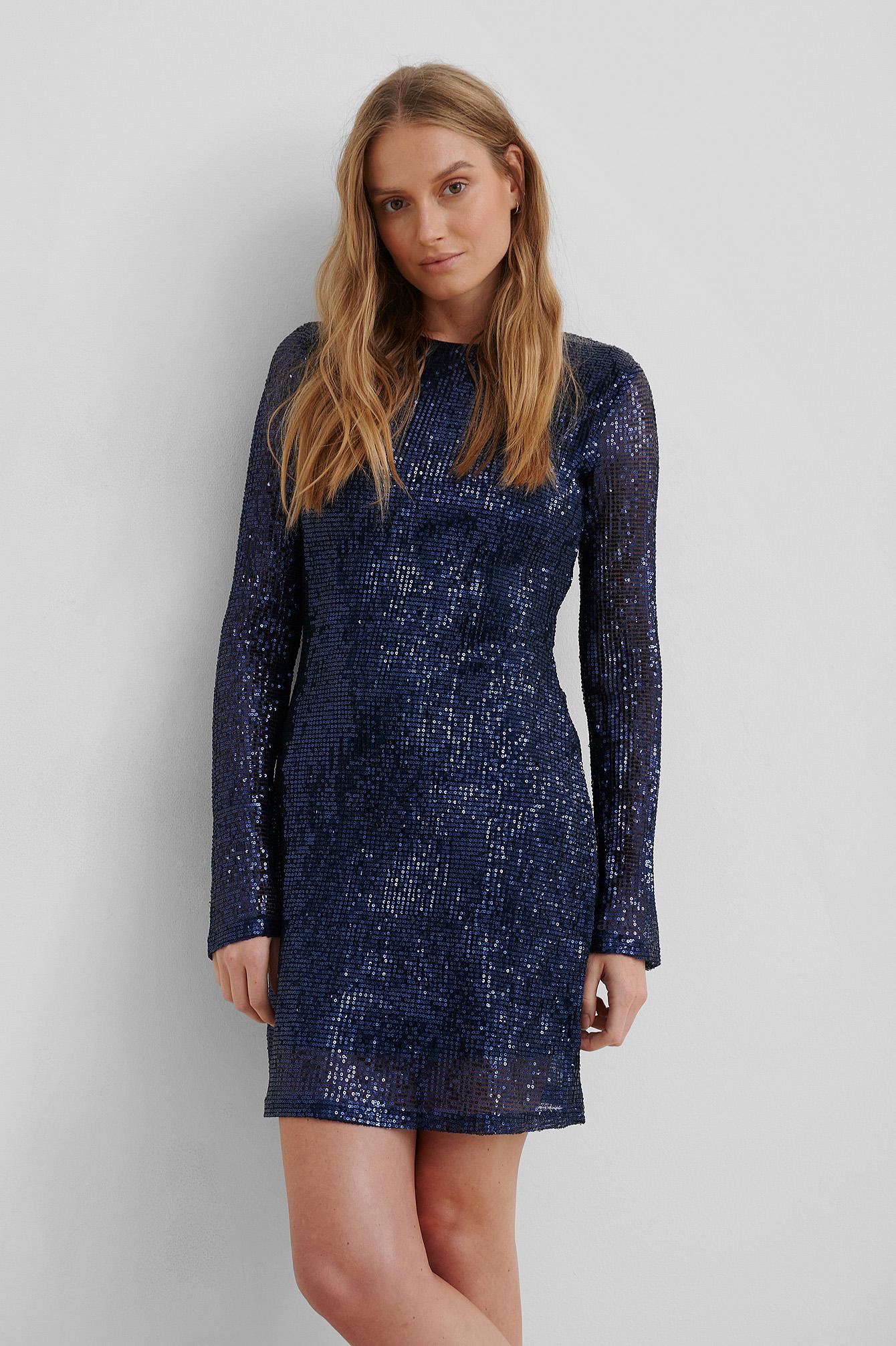 na-kd party -  Sequin Round Neck Mini Dress - Blue