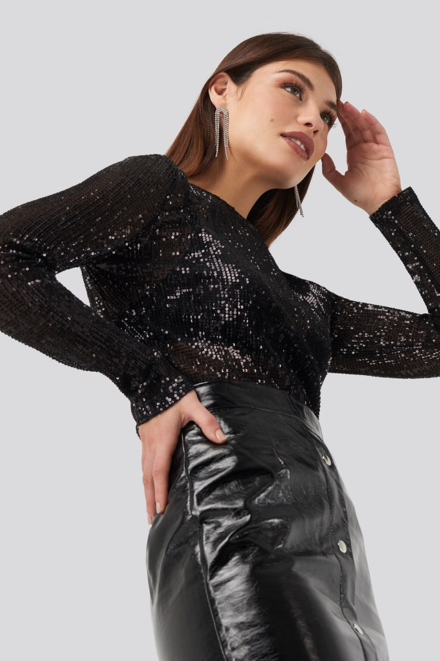Sequin Round Neck Top Black