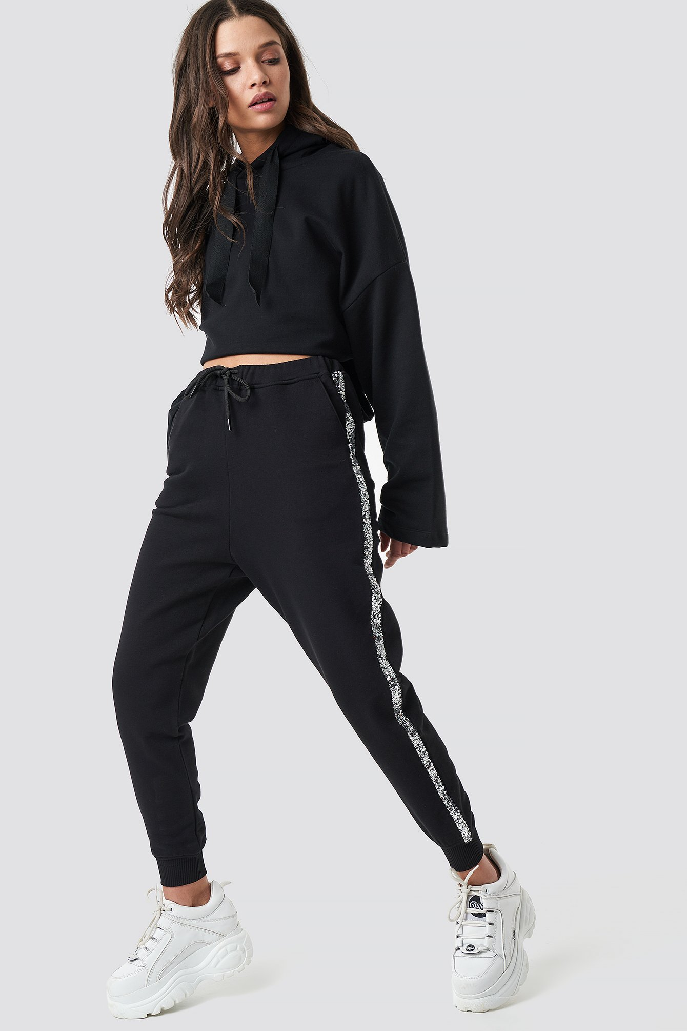 Sequin Side Panel Joggers NA-KD.COM