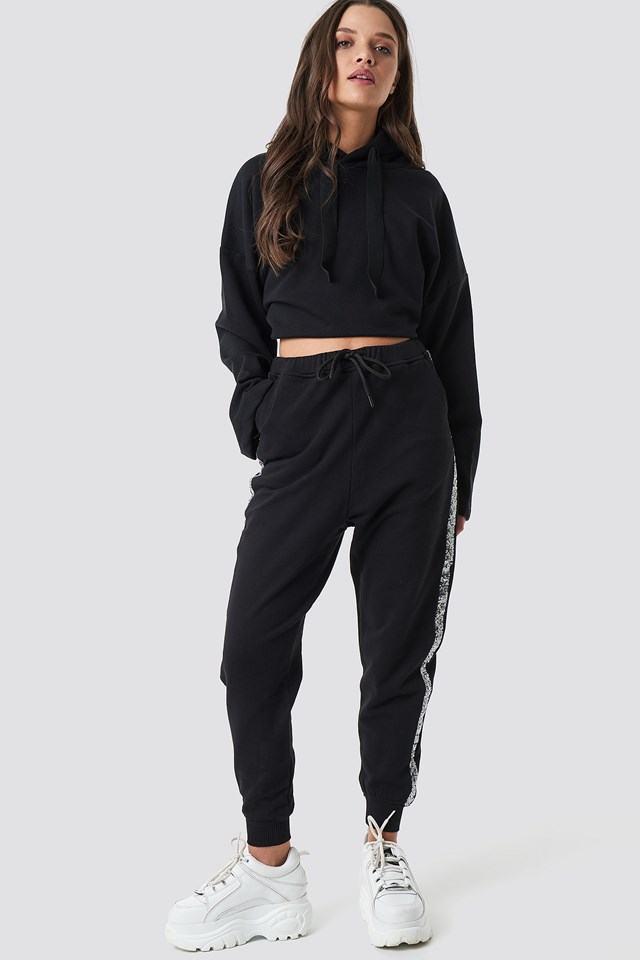 Sequin Side Panel Joggers Black