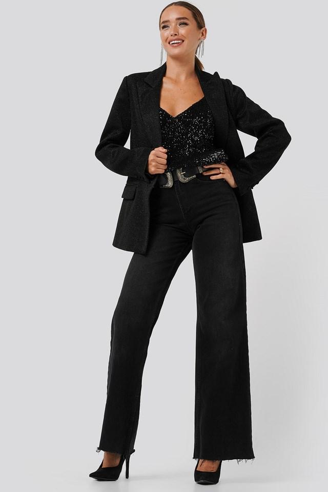 Sequin Singlet Black