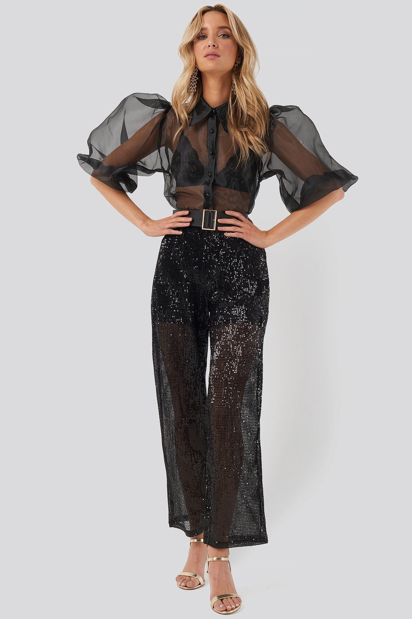 NA-KD Party Sequin Straight Pant - Black
