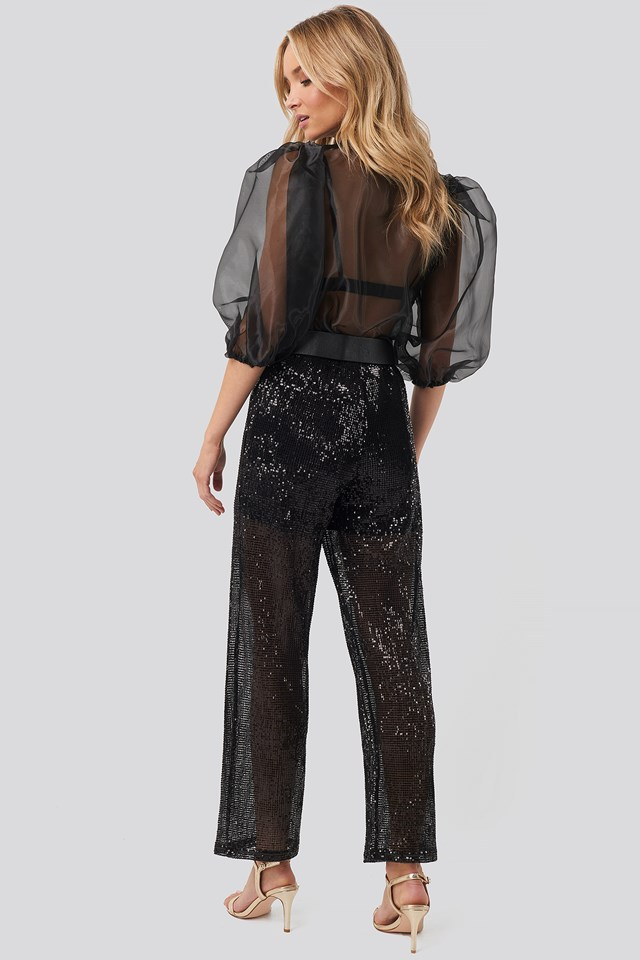 Sequin Straight Pant Black