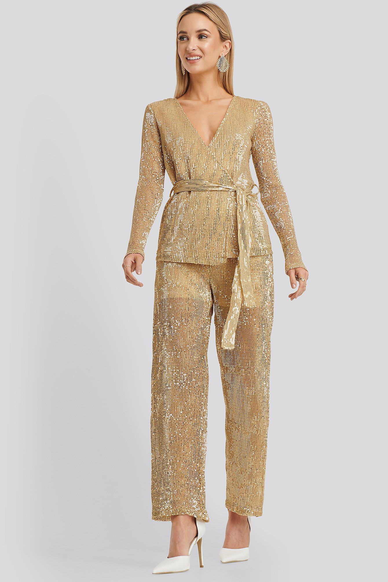 NA-KD Party Sequin Straight Pant - Gold | Bekleidung > Hosen > Weite Hosen | NA-KD Party