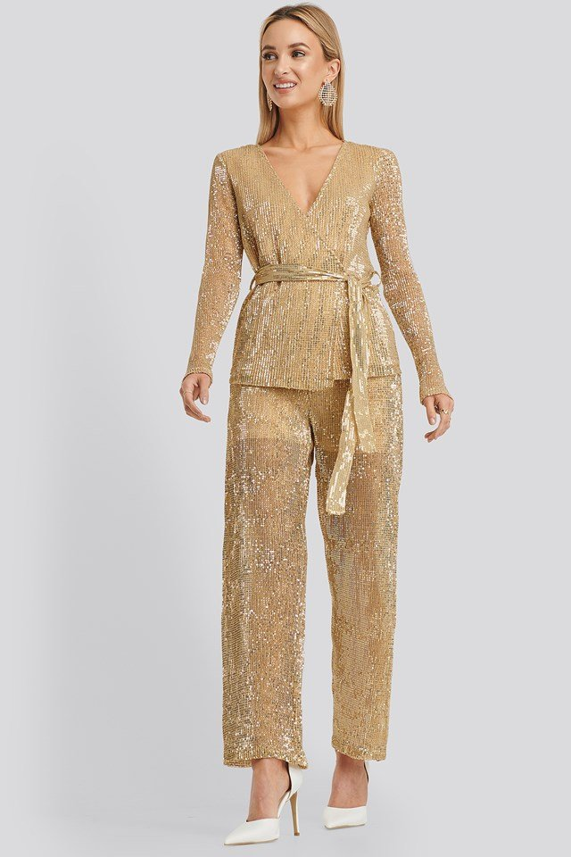 Sequin Straight Pant Gold