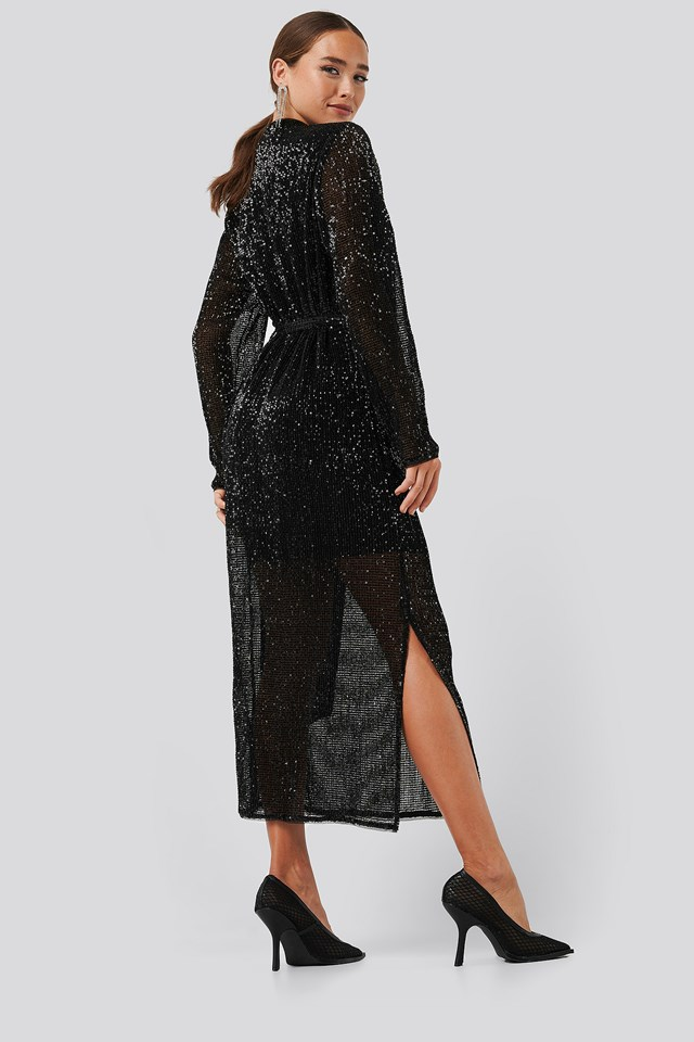 Sequin V-Neck Tie Waist Dress Black