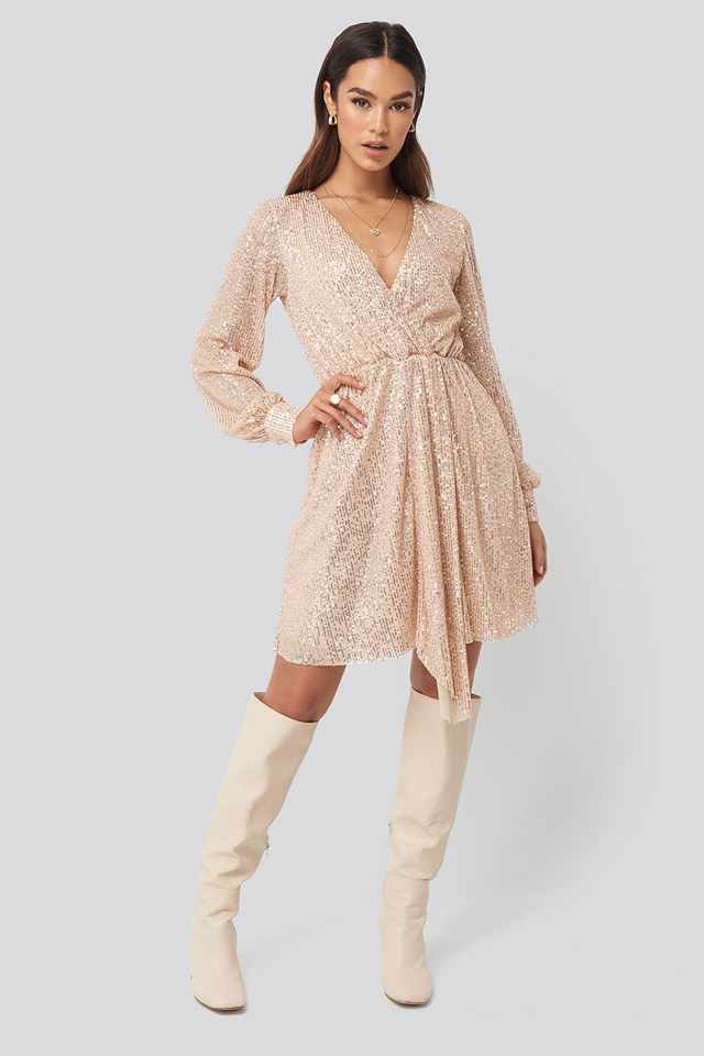 Sequined Double Breasted Collar Dress Gold