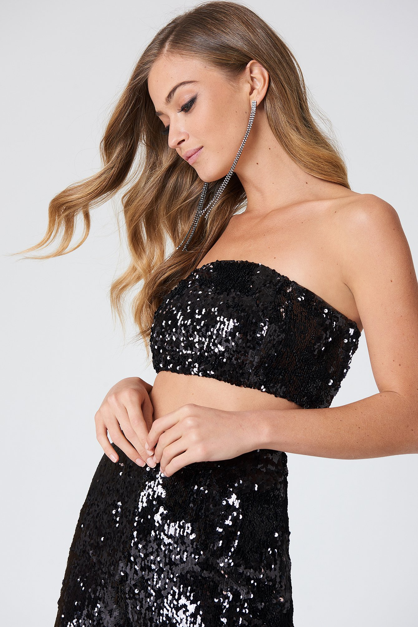 na-kd party -  Sequins Bandeau Top - Black