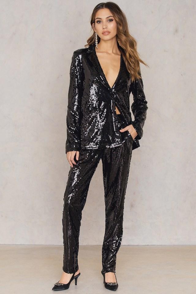 Sequins Blazer Black
