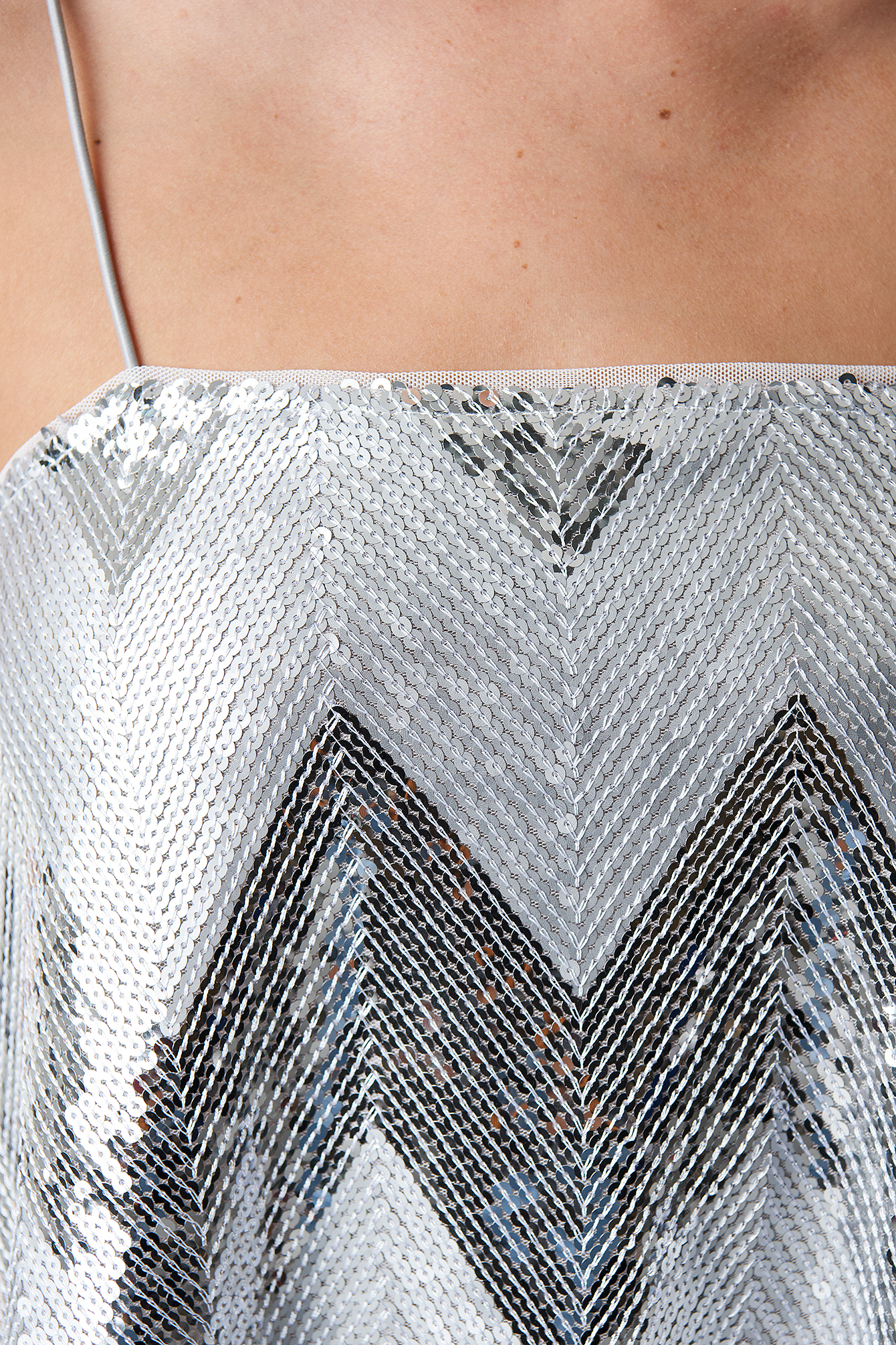 Silver Sequins Square Singlet