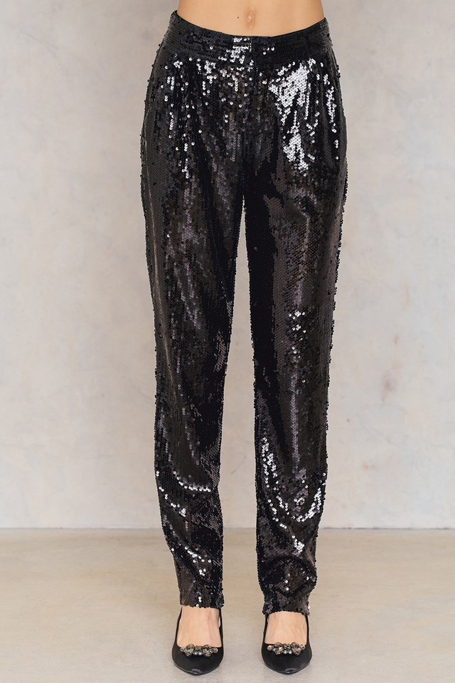 Sequins Straight Pants Black