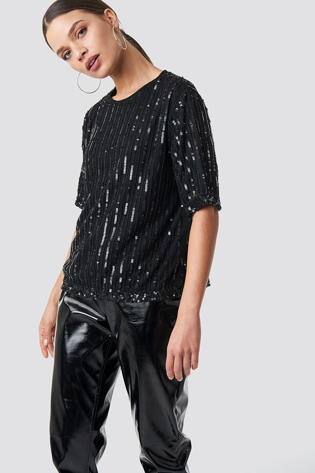 Sequins Top Black