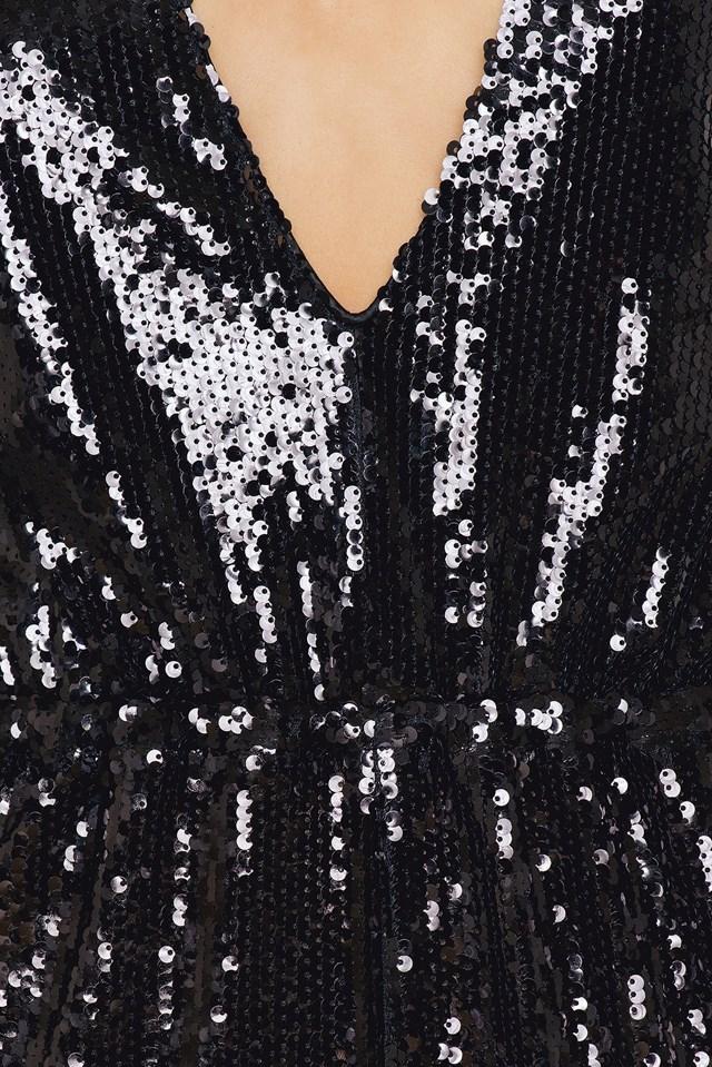 Sequins V-Neck Jumpsuit Black