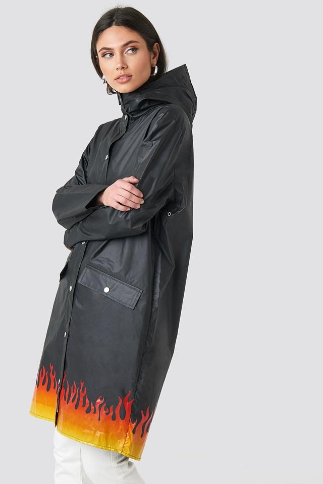 Set On Fire Rain Coat Black