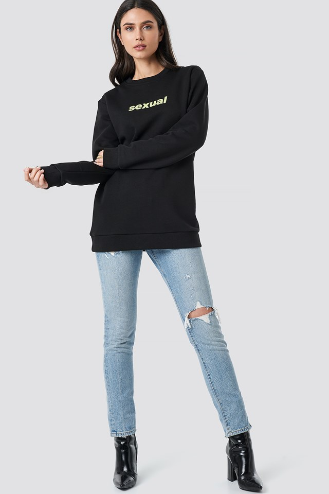 Sexual Oversized Long Sweater Black