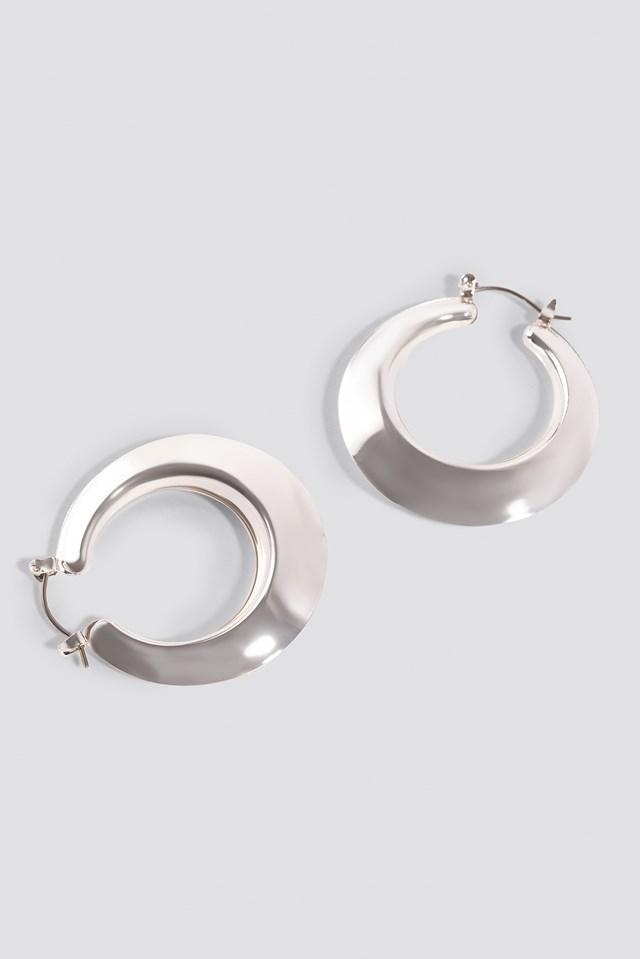Sharp Edge Hoop Earrings Silver