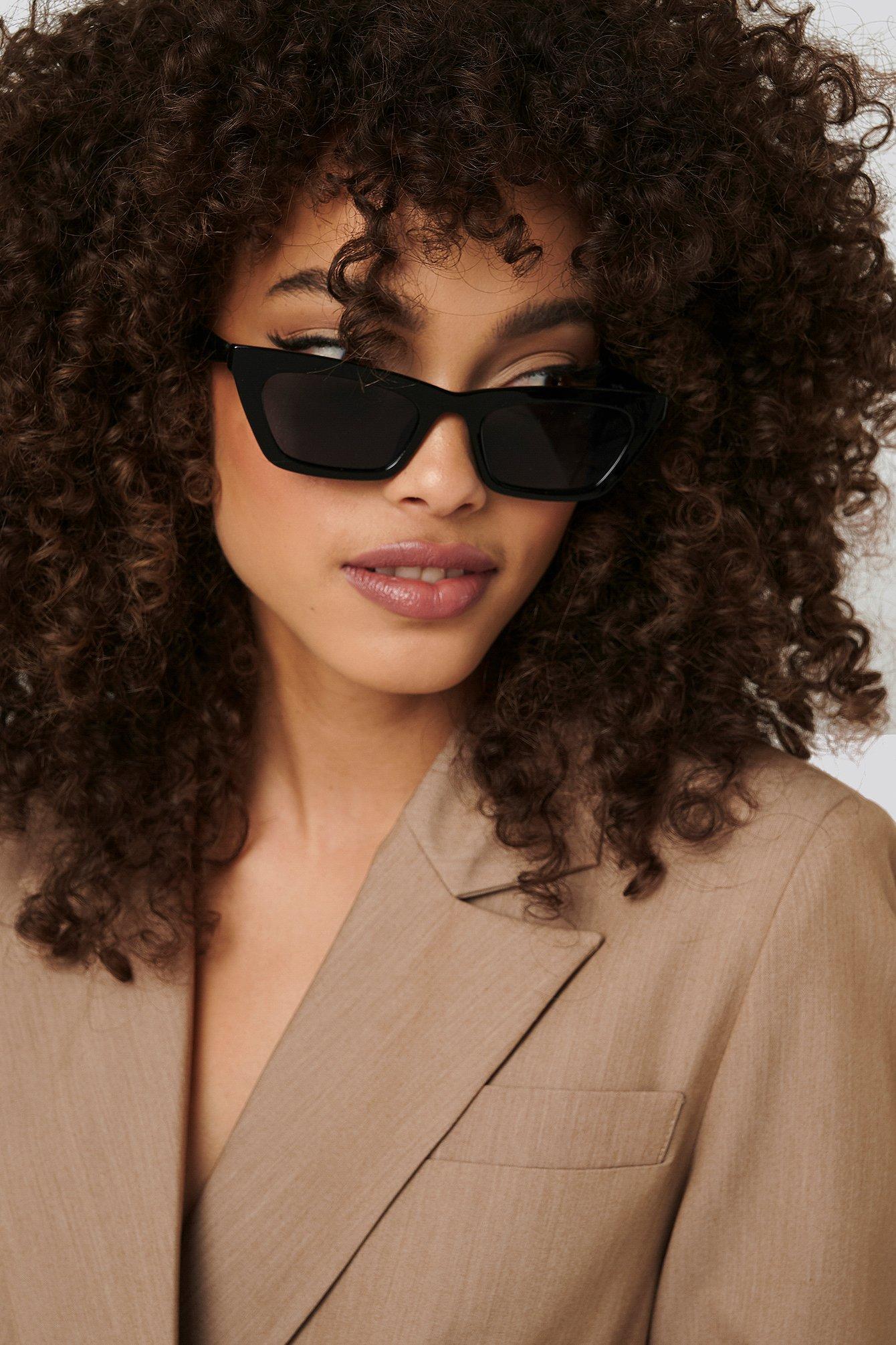 na-kd accessories -  Sharp Edge Slim Sunglasses - Black