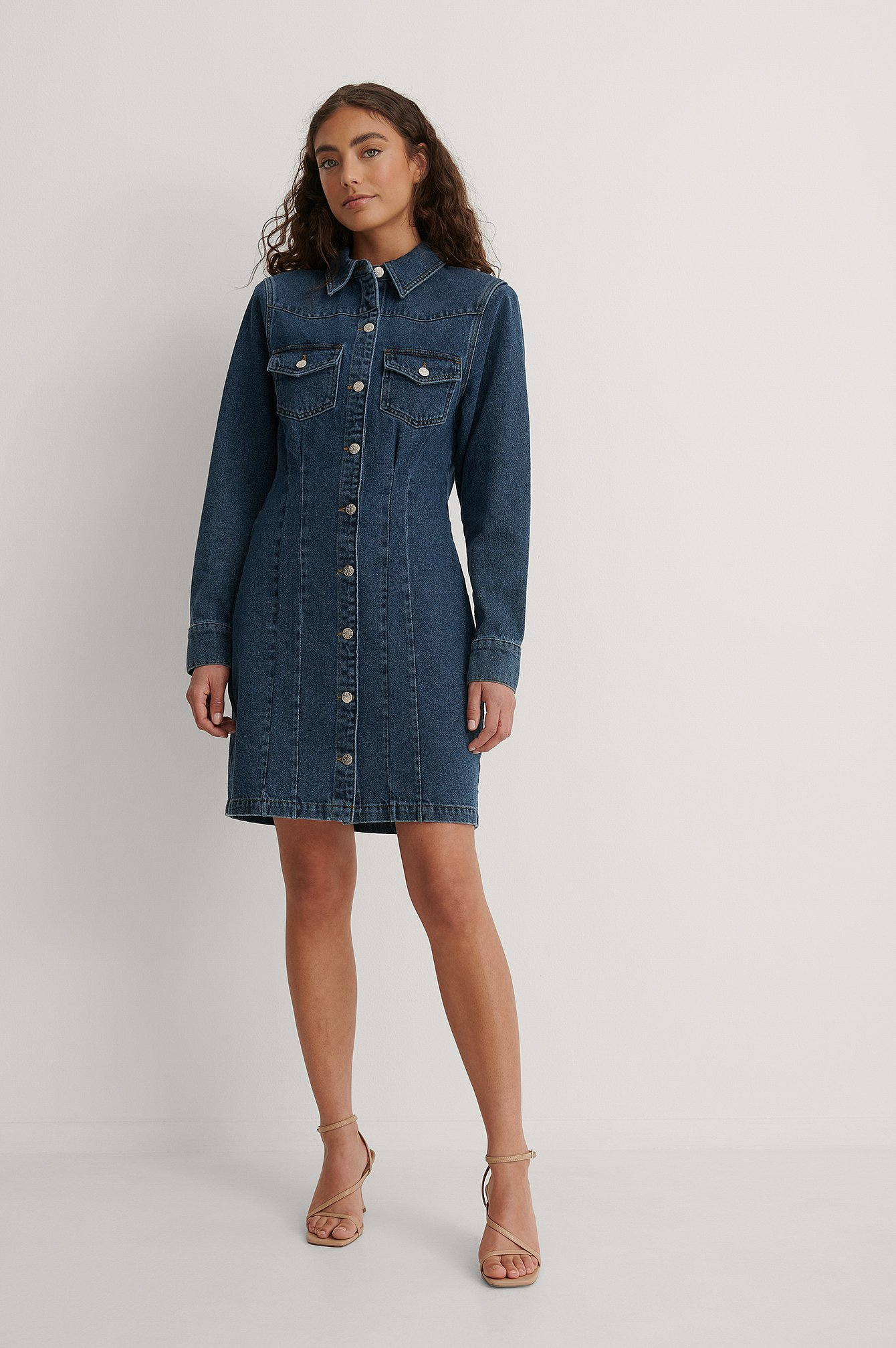 Mid Blue Recyled Sharp Shoulder Denim Dress