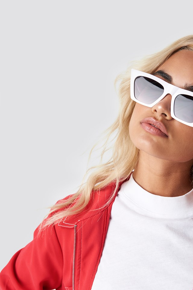 Sharp Square Cateye Sunglasses White