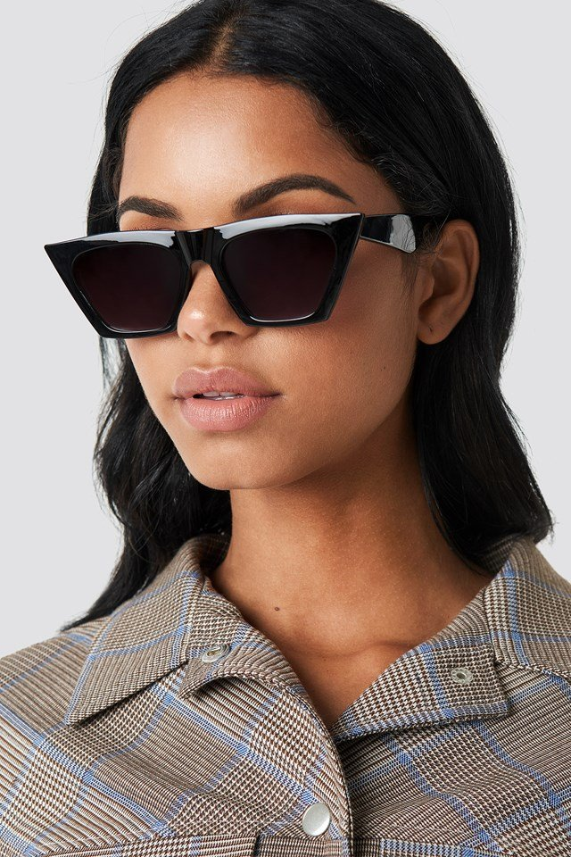 Sharp Square Cateye Sunglasses Black