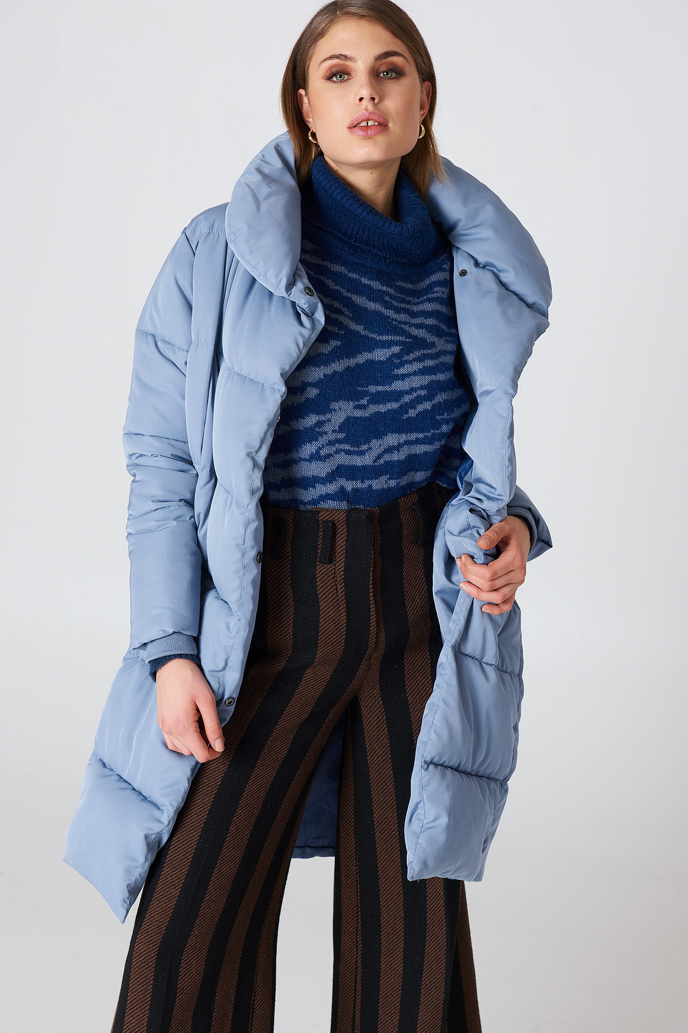 na-kd -  Shawl Collar Padded Jacket - Blue