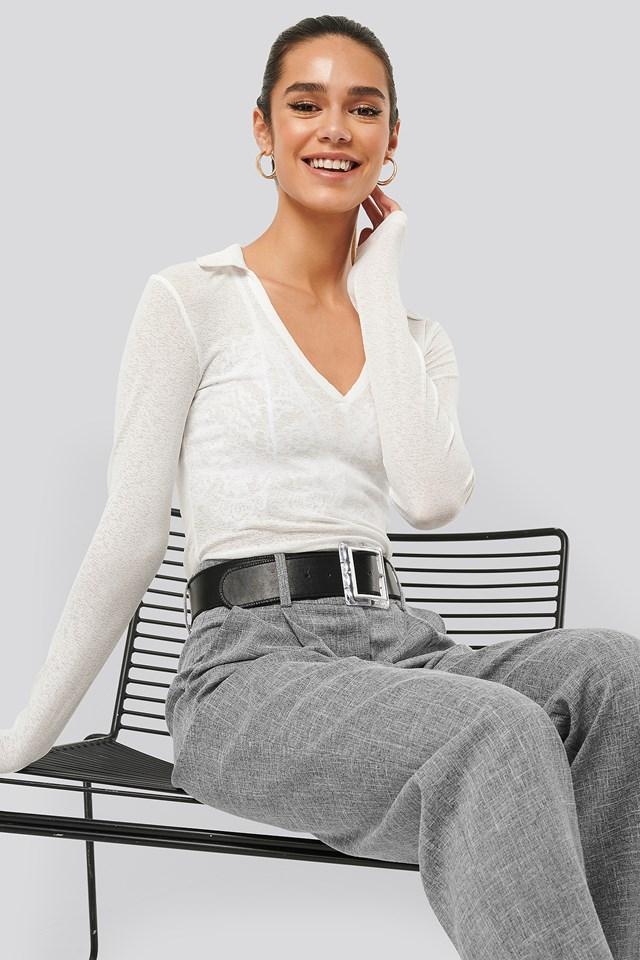 V-neck Sheer Long Sleeve Top White