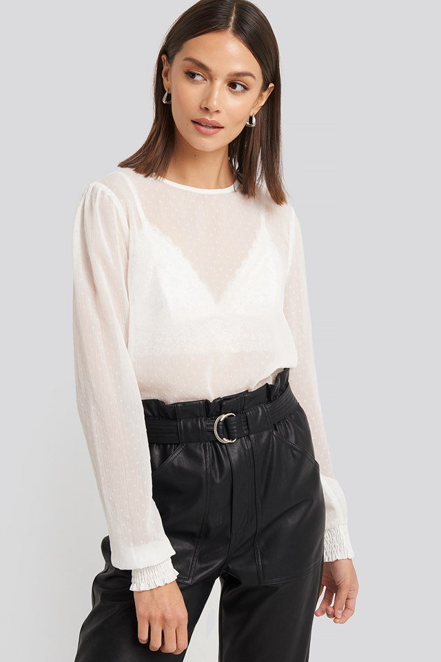 Sheer Dotted Round Neck Blouse White