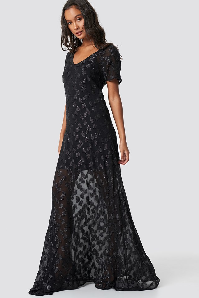 Sheer Glitter V-Neck Maxi Dress NA-KD Boho
