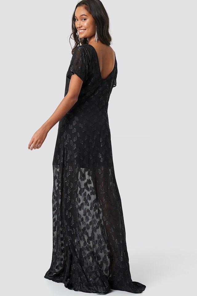 Sheer Glitter V-Neck Maxi Dress Black
