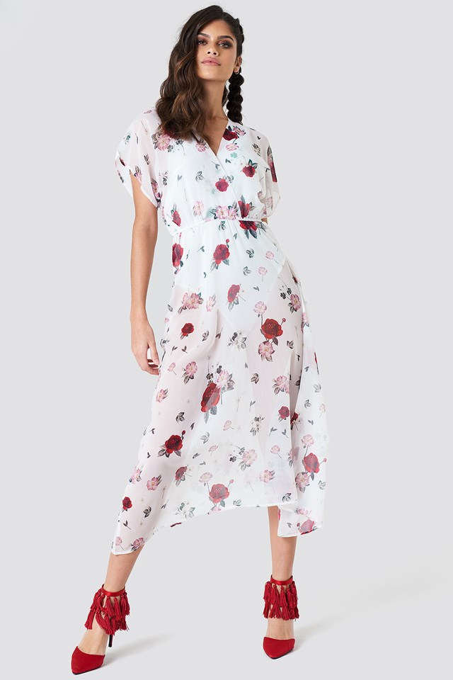 Sheer Kimono Sleeve Dress Print