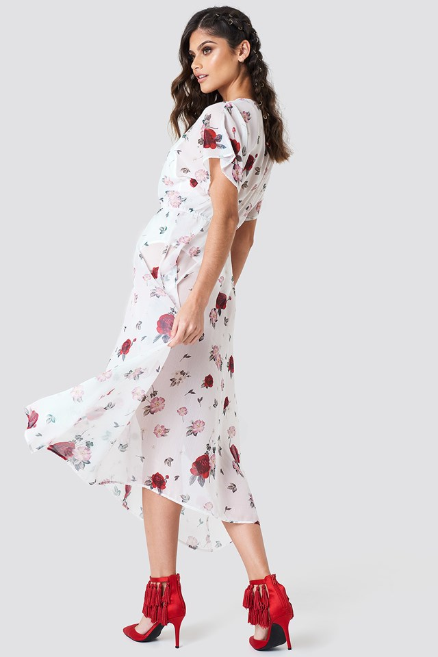 Sheer Kimono Sleeve Dress Print