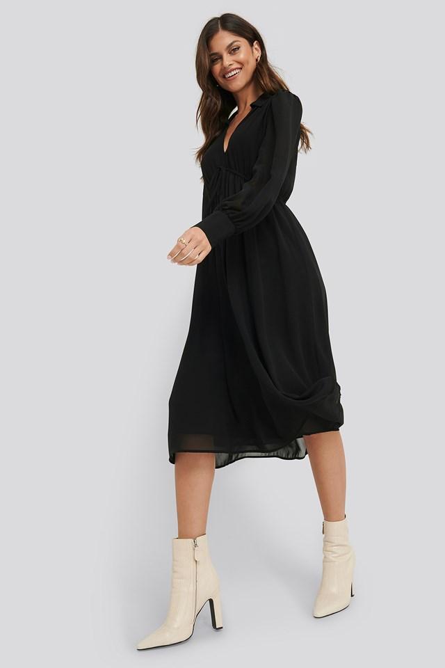 Sheer Midi Dress Black