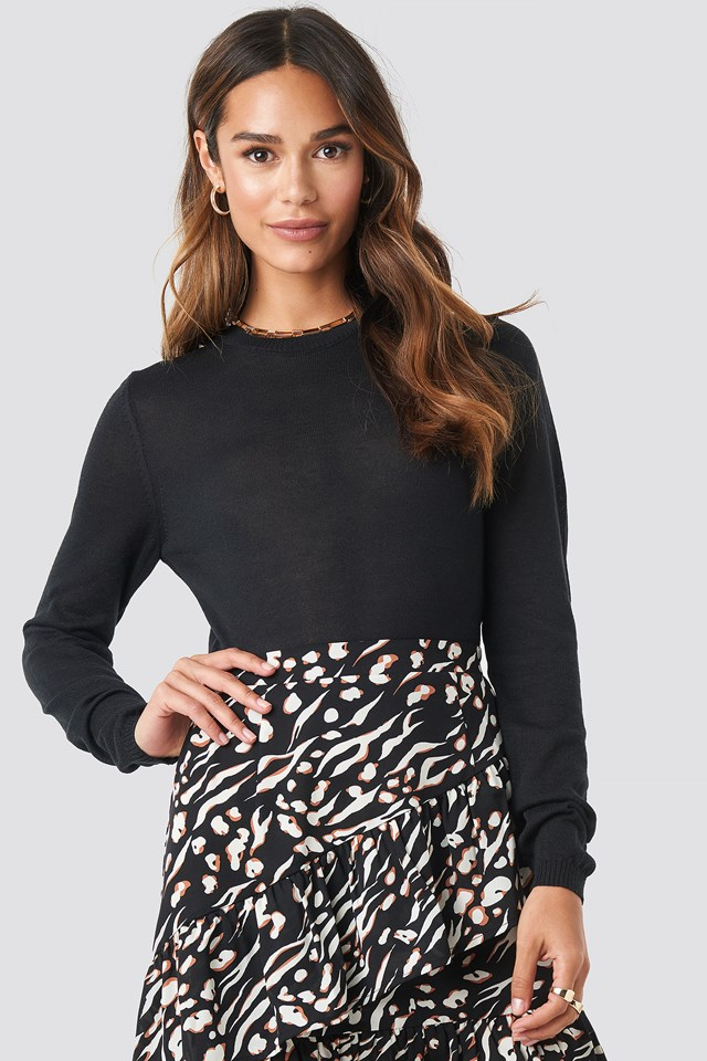 Sheer Round Neck Knitted Top Black