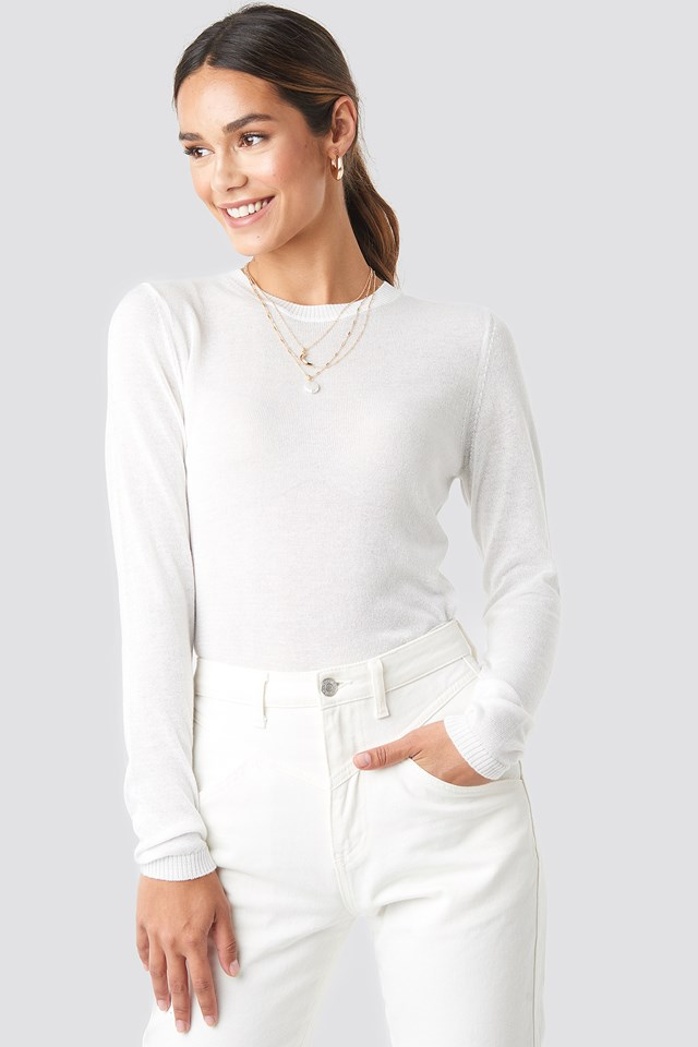 Sheer Round Neck Knitted Top White