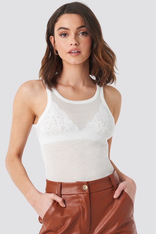 Sheer Tank Top Offwhite