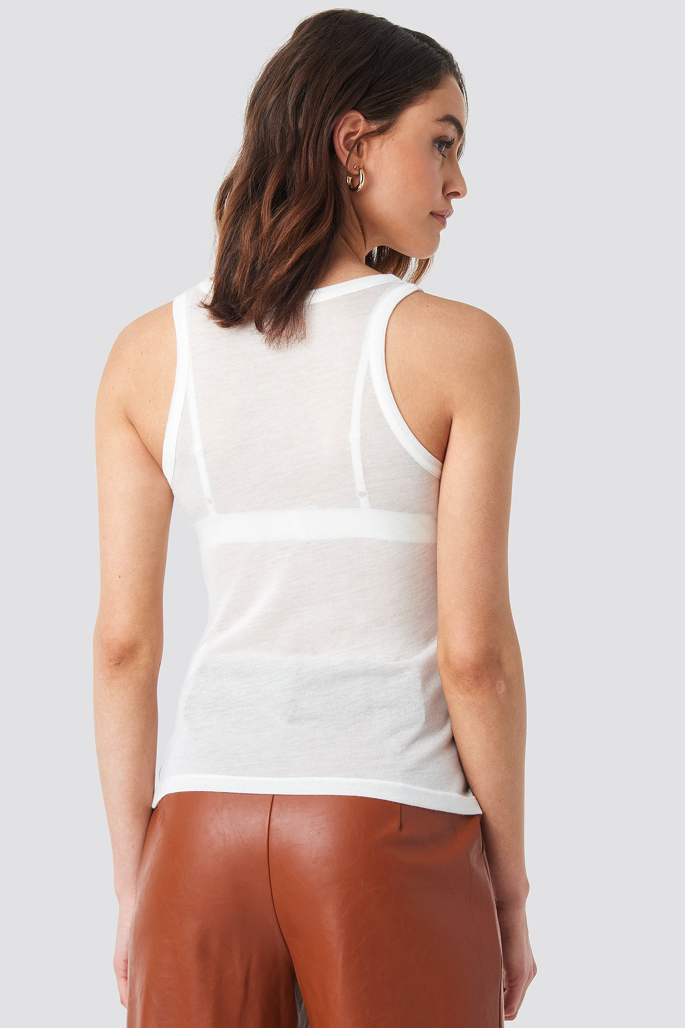 Offwhite Sheer Tank Top