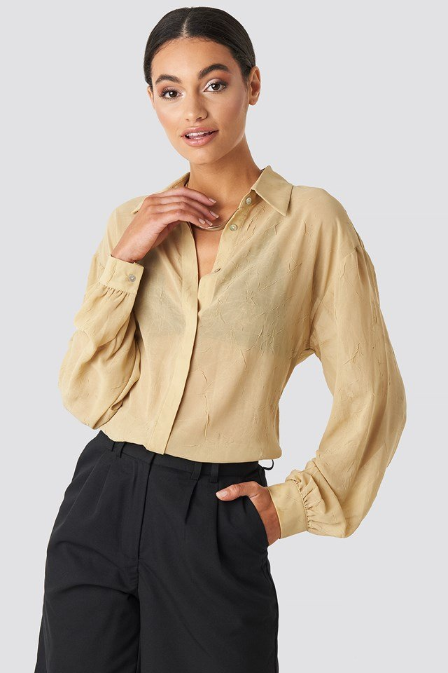 Sheer Wrinkle Effect Blouse Sand