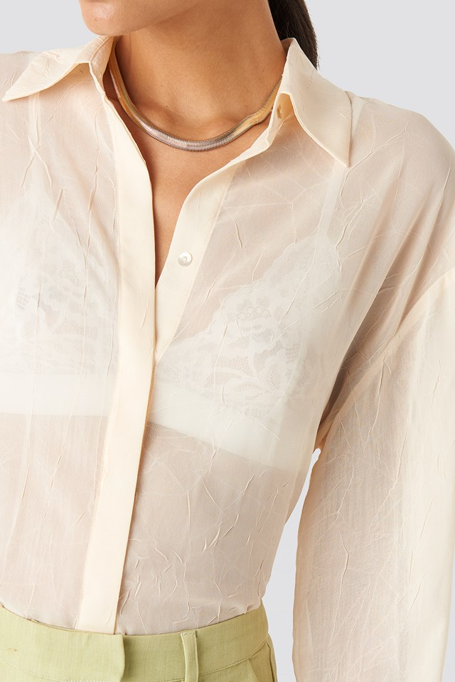Sheer Wrinkle Effect Blouse Cream